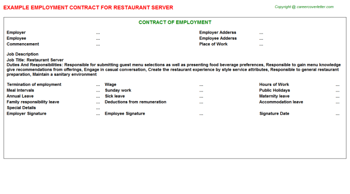 Restaurant Server Job Contract Template
