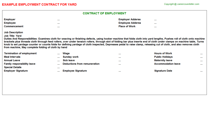 Yard Job Employment Contract Template