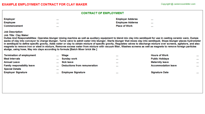Clay Maker Employment Contract Template