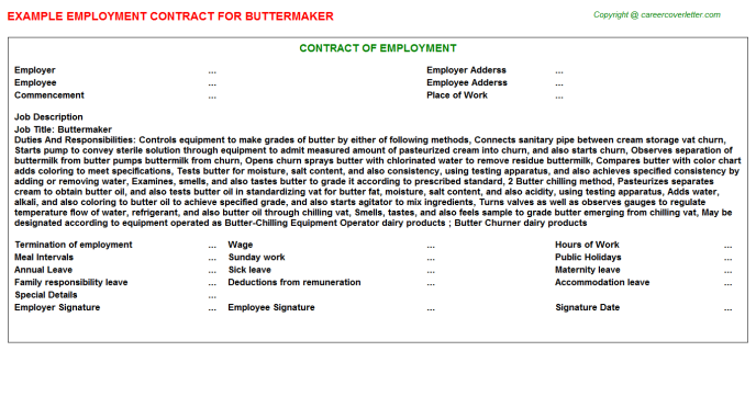 Buttermaker Employment Contract Template