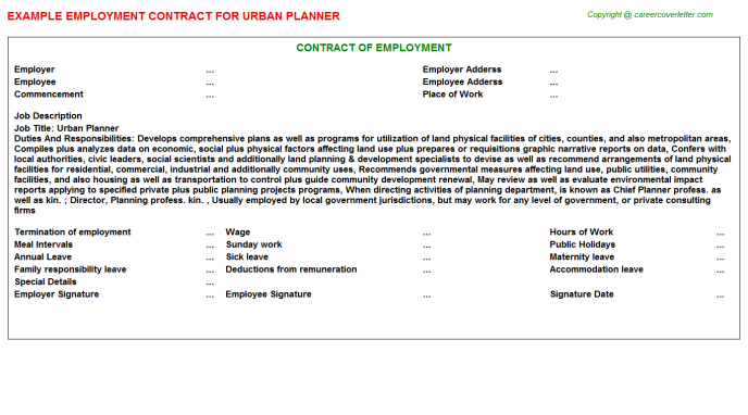 urban planner employment contract template