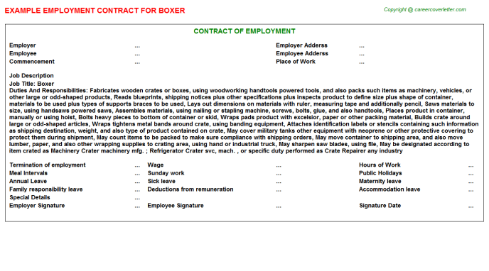 Boxer Job Employment Contract Template