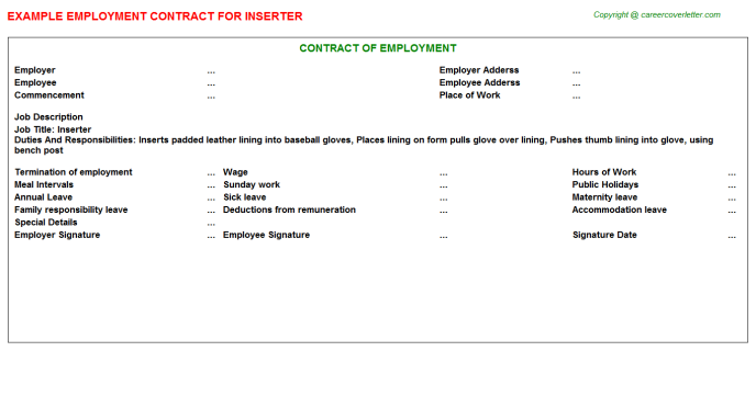 Inserter Job Employment Contract Template