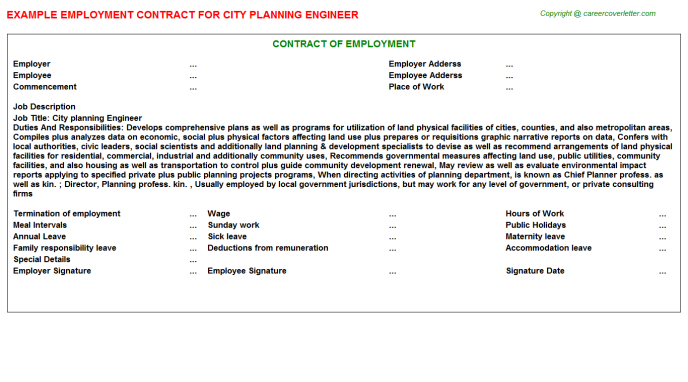 city planning engineer employment contract template