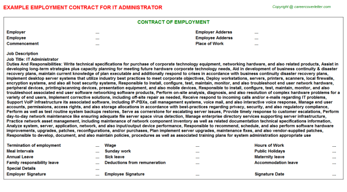 IT Administrator Employment Contract Template