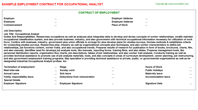 occupational analyst employment contract template