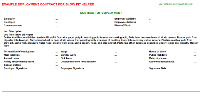 Blow Pit Helper Employment Contract Template