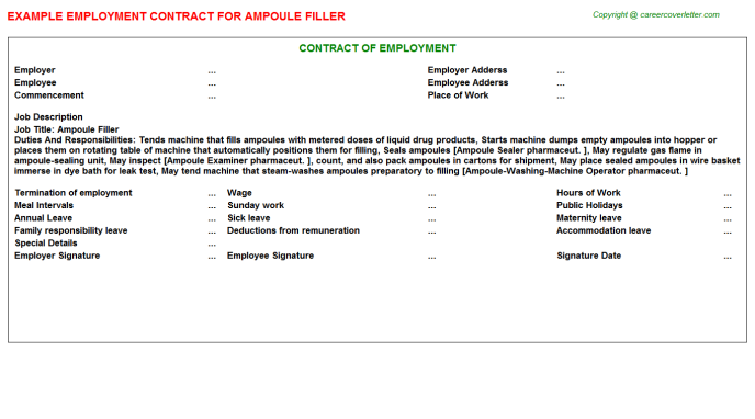 ampoule filler employment contract template