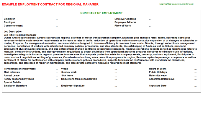Regional Manager Employment Contract Template