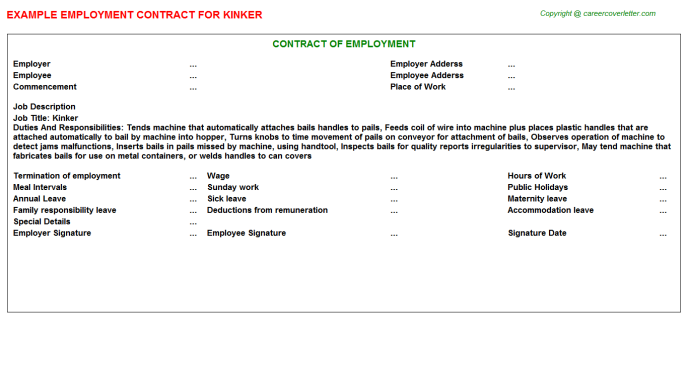 Kinker Employment Contract Template