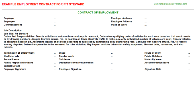 Pit Steward Job Employment Contract Template