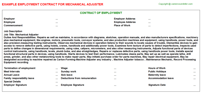 Mechanical Adjuster Employment Contract Template