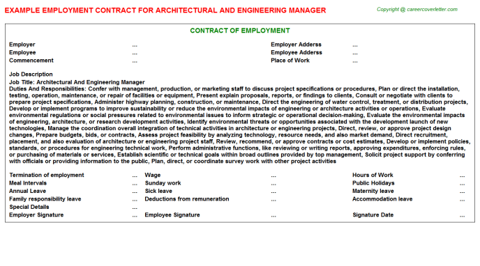 architectural and engineering manager employment contract template