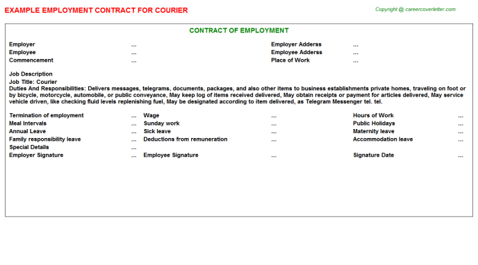 Courier Job Employment Contract Template