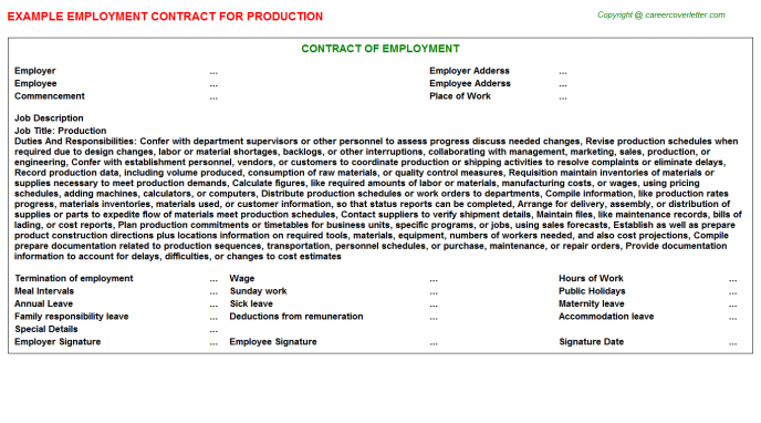 Production Employment Contract Template