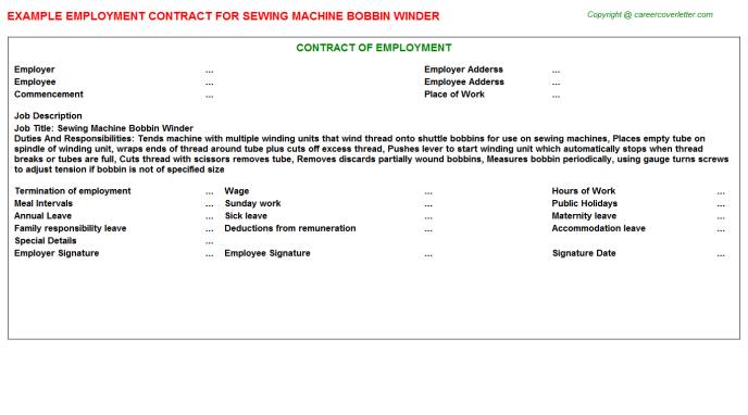 Sewing Machine Bobbin Winder Employment Contract Template