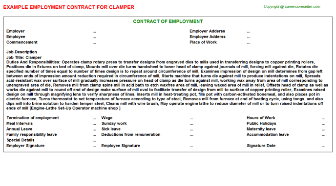 Clamper Employment Contract Template