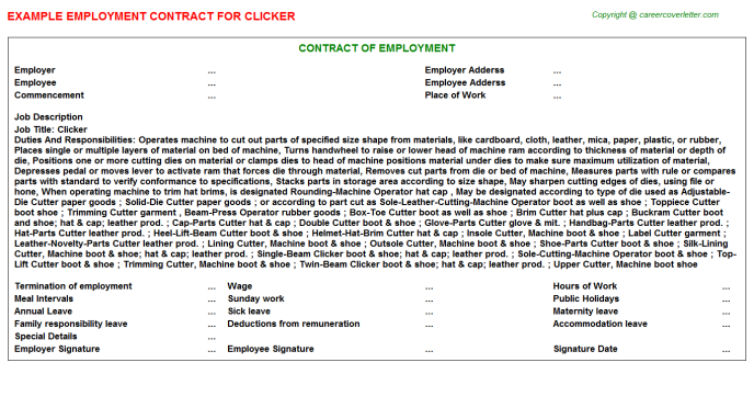 Clicker Job Employment Contract Template