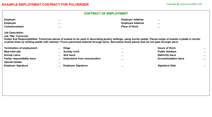 Pulverizer Employment Contract Template