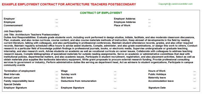 architecture teachers postsecondary employment contract template