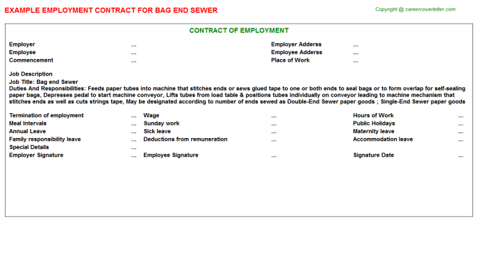 Bag End Sewer Job Employment Contract Template