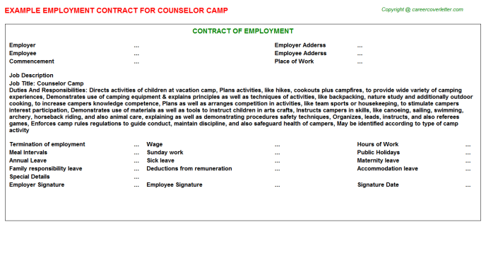 Counselor Camp Employment Contract Template