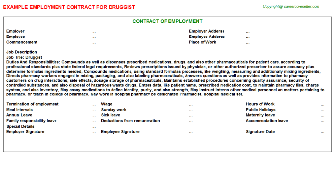 Druggist Employment Contract Template