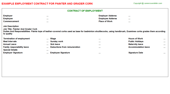 painter and grader cork employment contract template