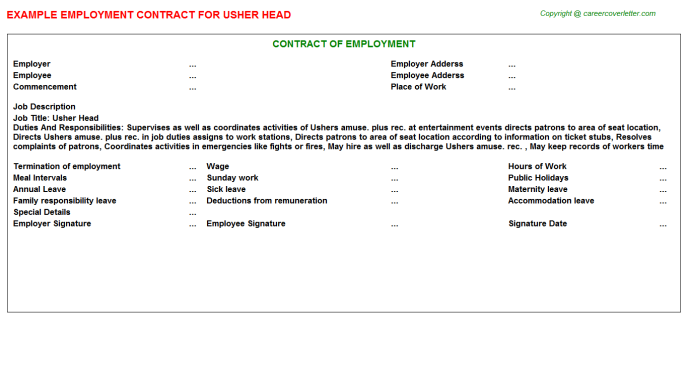 Usher Head Employment Contract Template