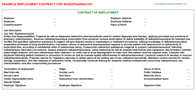 Radiopharmacist Employment Contract Template