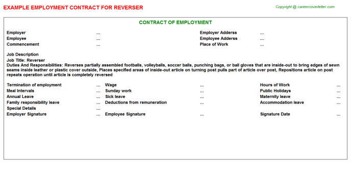 Reverser Employment Contract Template