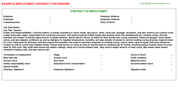 Smoker Job Employment Contract Template