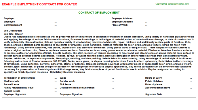 Coater Job Employment Contract Template