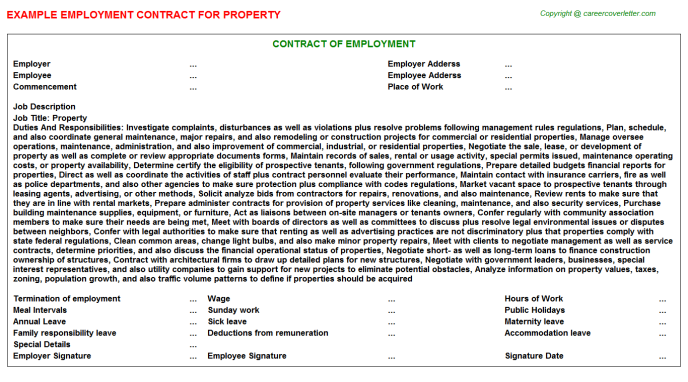 Property Job Employment Contract Template