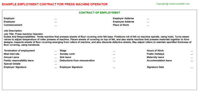 Press Machine Operator Job Employment Contract Template