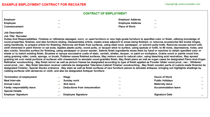 Recoater Employment Contract Template