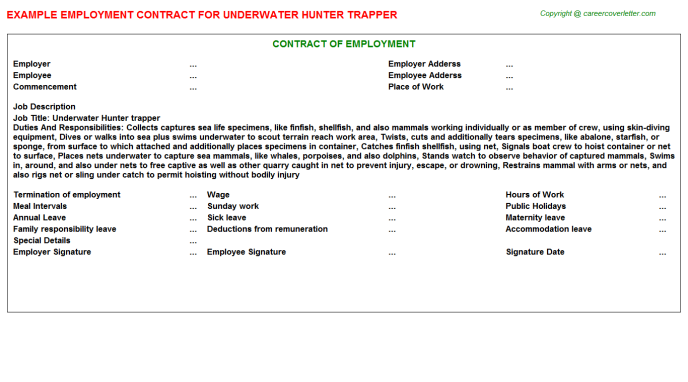 Underwater Hunter Trapper Job Contract Template