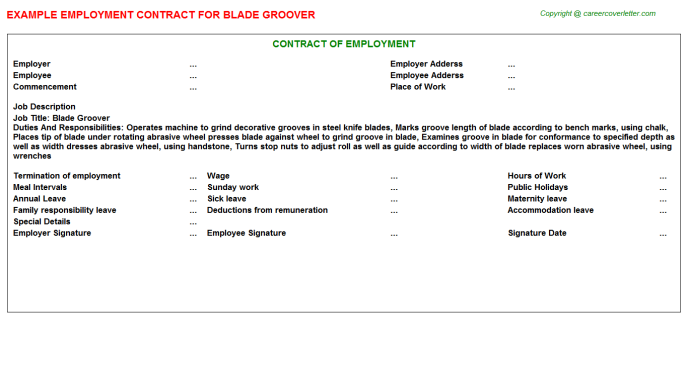 blade groover employment contract template