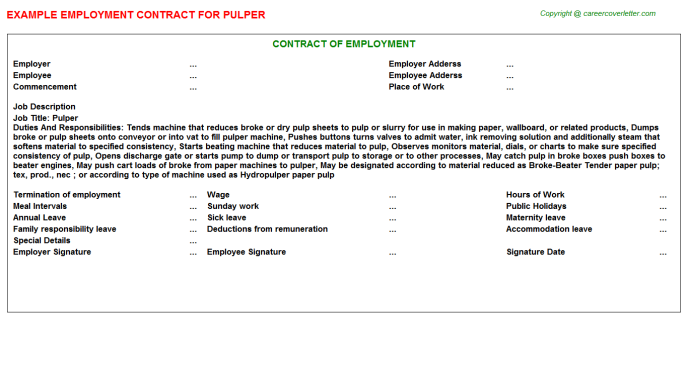 Pulper Employment Contract Template