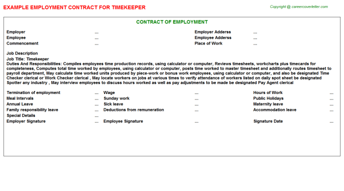 Timekeeper Job Employment Contract Template