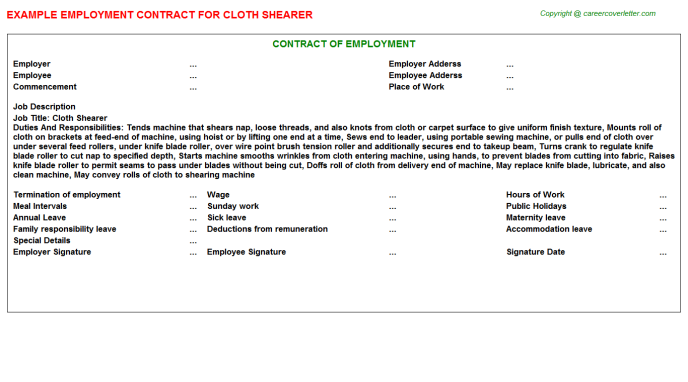 Cloth Shearer Employment Contract Template