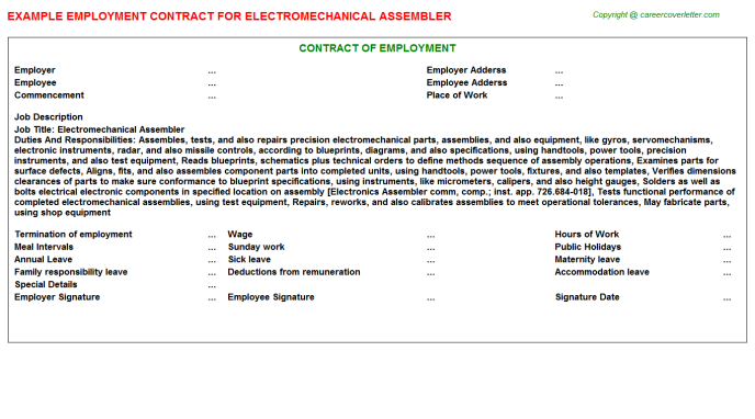 Electromechanical Assembler Employment Contract Template