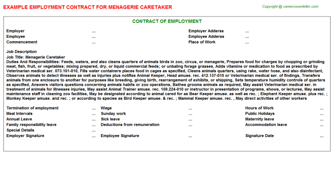 menagerie caretaker employment contract template