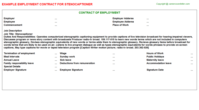 Stenocaptioner Employment Contract Template