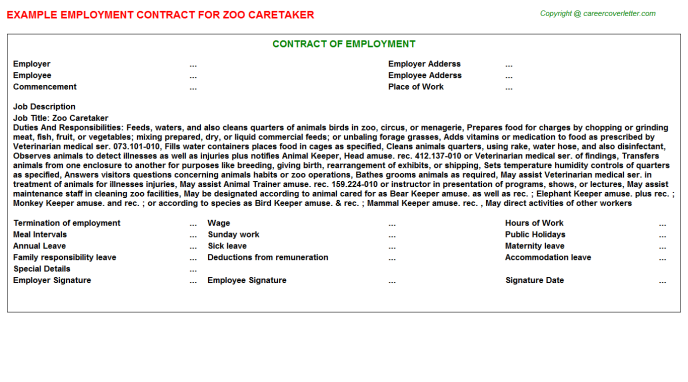 zoo caretaker employment contract template