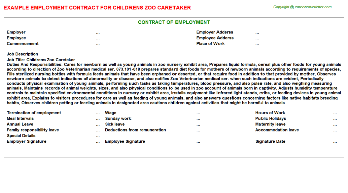 childrens zoo caretaker employment contract template