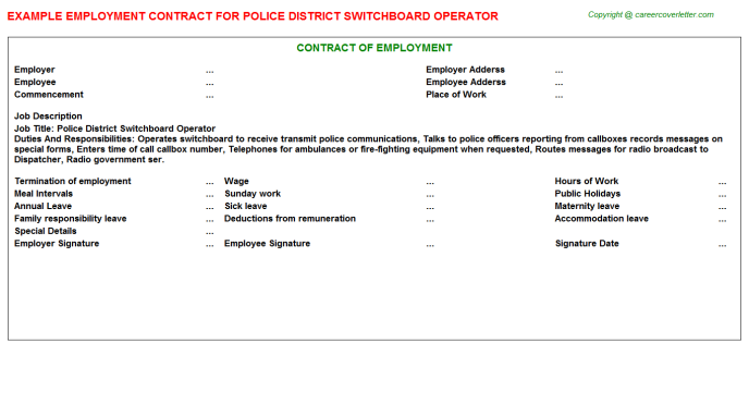 Police District Switchboard Operator Employment Contract Template