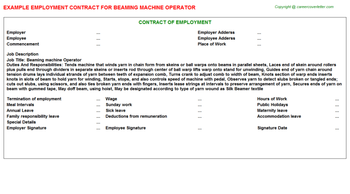 Beaming Machine Operator Employment Contract Template