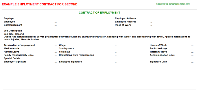 Second Employment Contract Template