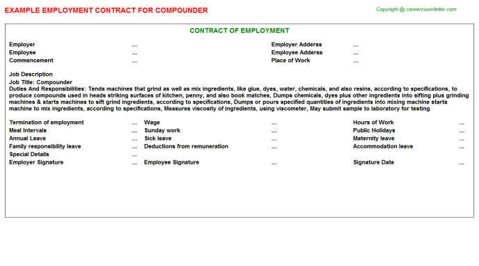 Compounder Job Employment Contract Template